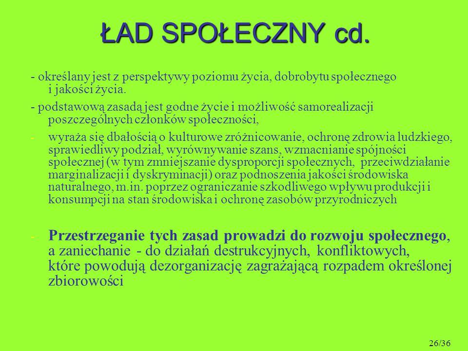 ŁAD SPOŁECZNY cd. - określany jest z perspektywy poziomu życia, dobrobytu społecznego i jakości życia.
