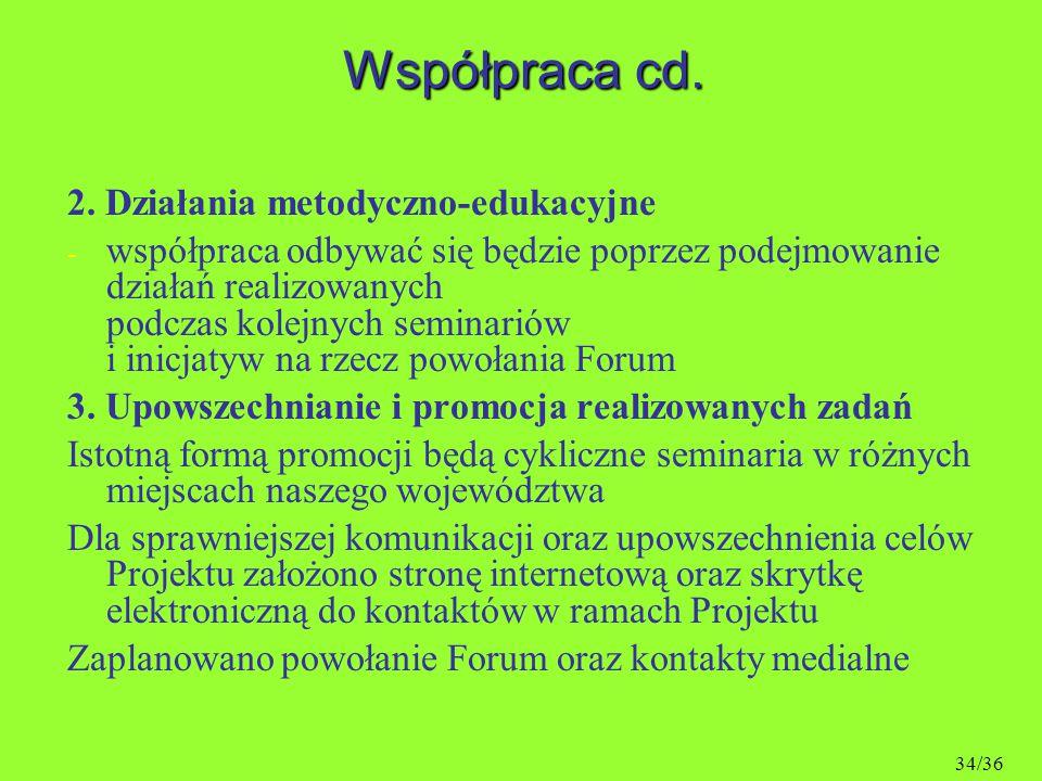 Współpraca cd. 2. Działania metodyczno-edukacyjne