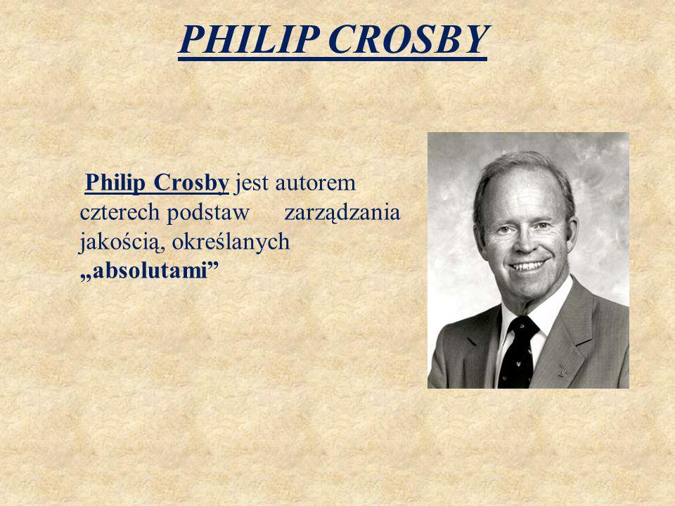 """PHILIP CROSBY Philip Crosby jest autorem czterech podstaw zarządzania jakością, określanych """"absolutami"""