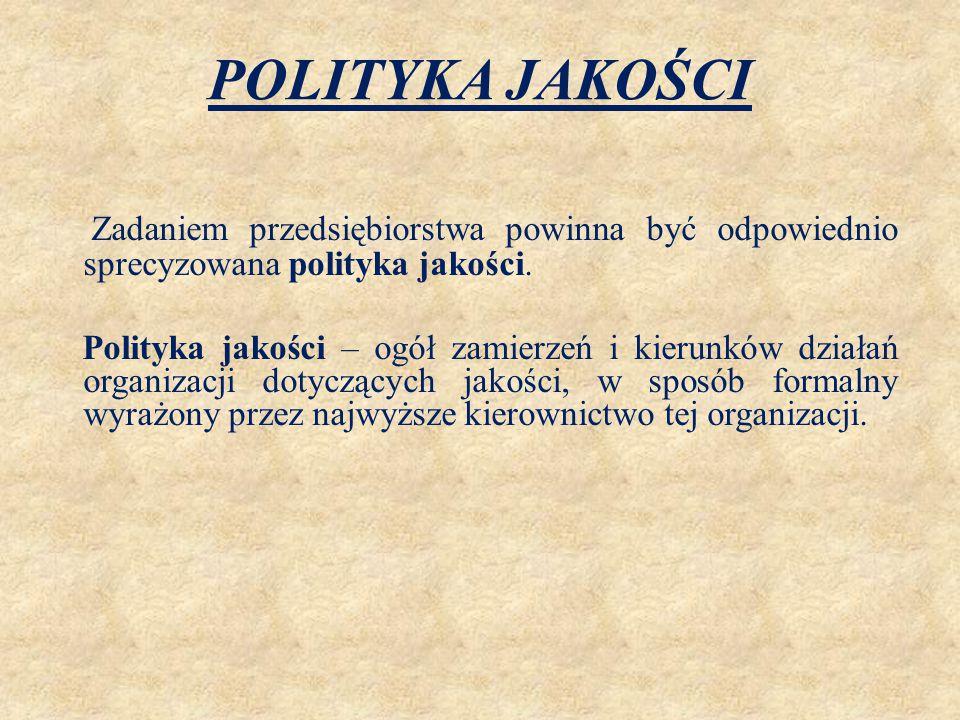 POLITYKA JAKOŚCI Zadaniem przedsiębiorstwa powinna być odpowiednio sprecyzowana polityka jakości.