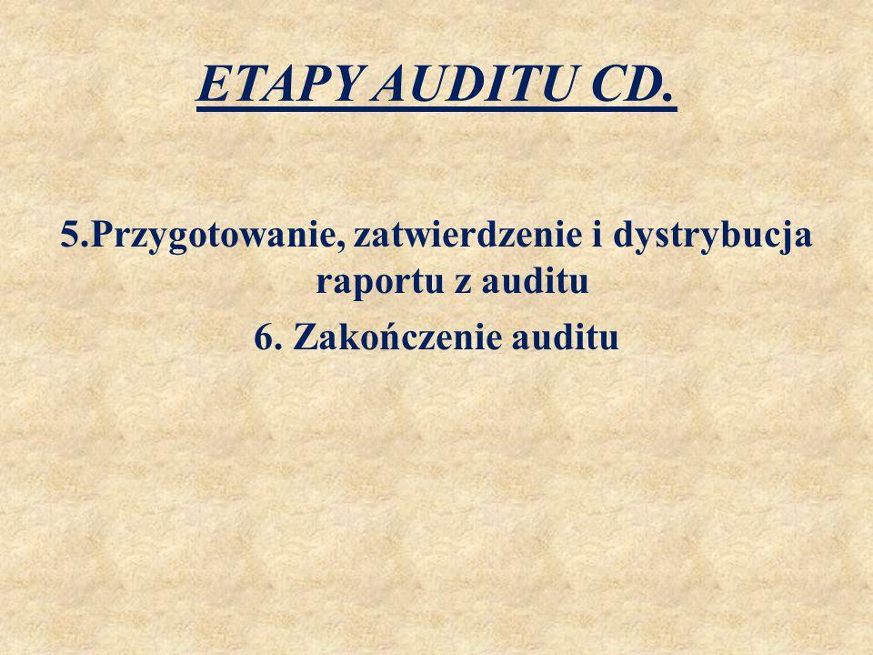 ETAPY AUDITU CD. 5.Przygotowanie, zatwierdzenie i dystrybucja raportu z auditu 6.