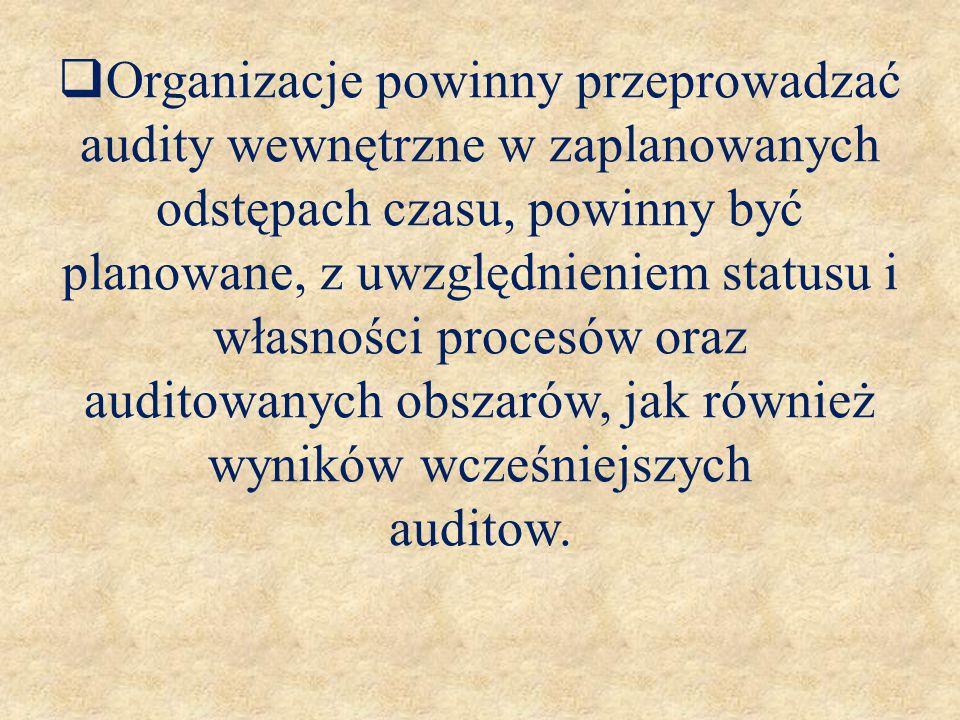 Organizacje powinny przeprowadzać audity wewnętrzne w zaplanowanych odstępach czasu, powinny być planowane, z uwzględnieniem statusu i własności procesów oraz auditowanych obszarów, jak również wyników wcześniejszych auditow.