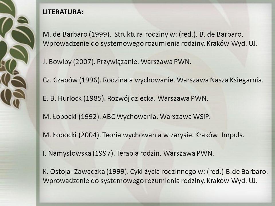 LITERATURA: M. de Barbaro (1999). Struktura rodziny w: (red.). B. de Barbaro. Wprowadzenie do systemowego rozumienia rodziny. Kraków Wyd. UJ.