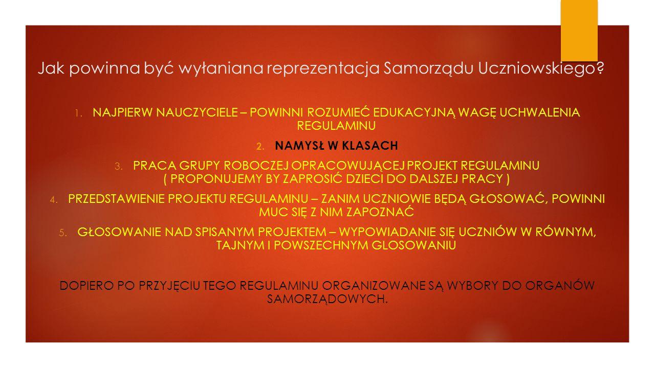 Jak powinna być wyłaniana reprezentacja Samorządu Uczniowskiego