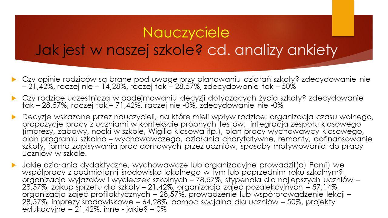 Nauczyciele Jak jest w naszej szkole cd. analizy ankiety