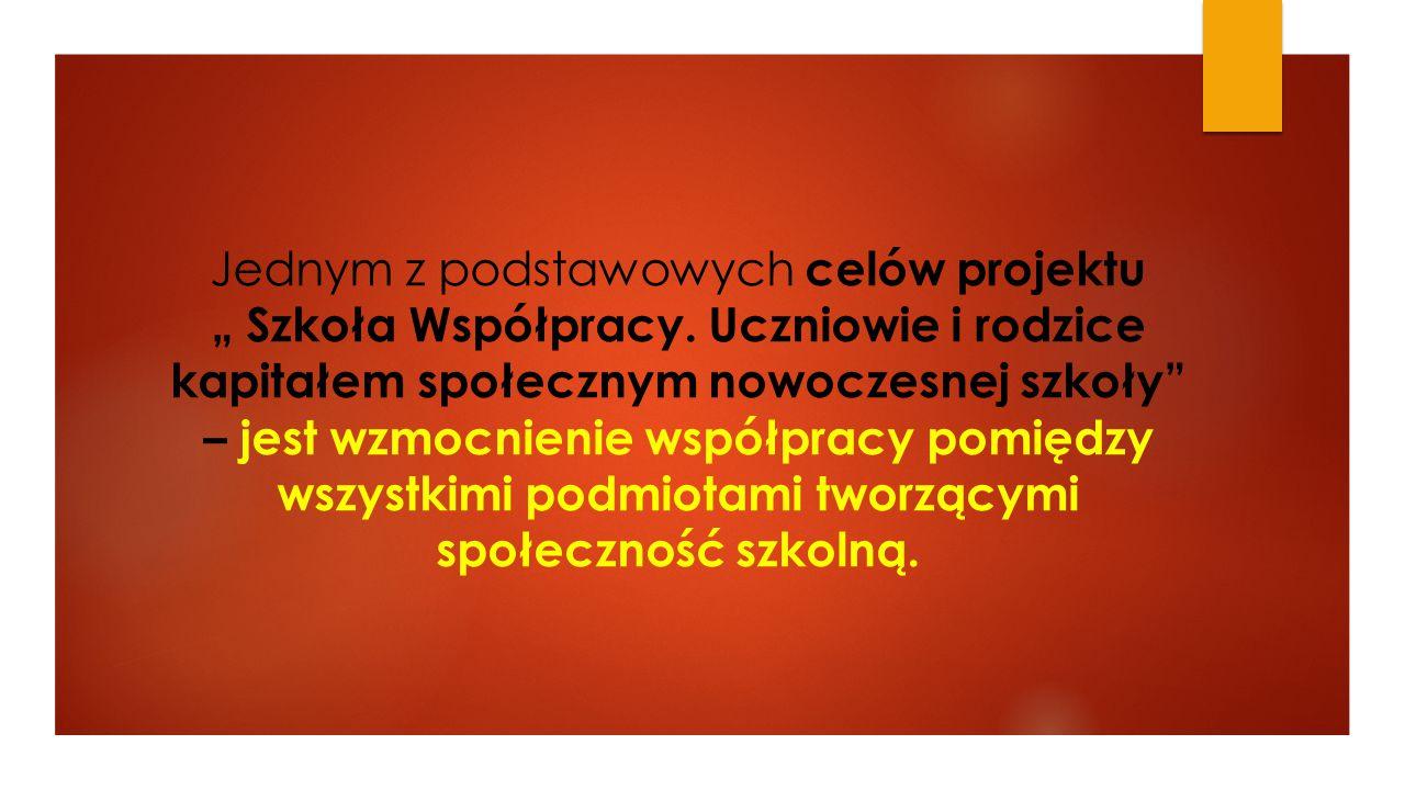 """Jednym z podstawowych celów projektu """" Szkoła Współpracy"""