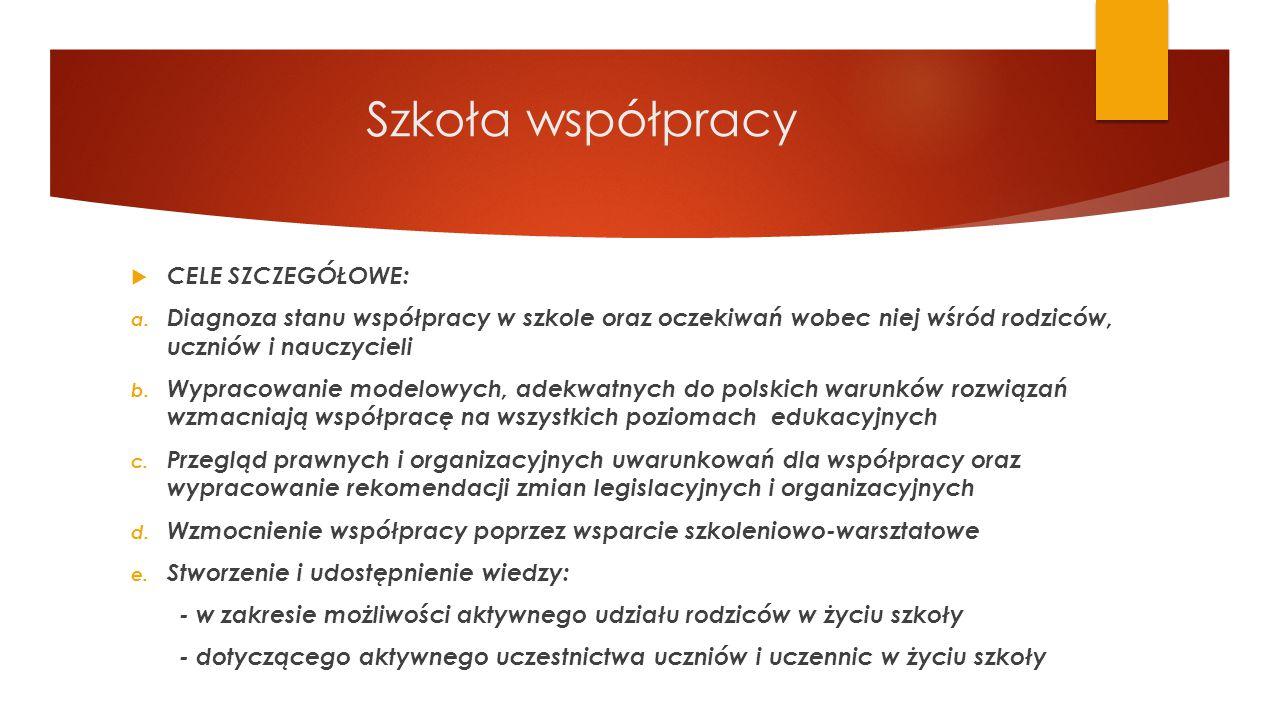 Szkoła współpracy CELE SZCZEGÓŁOWE: