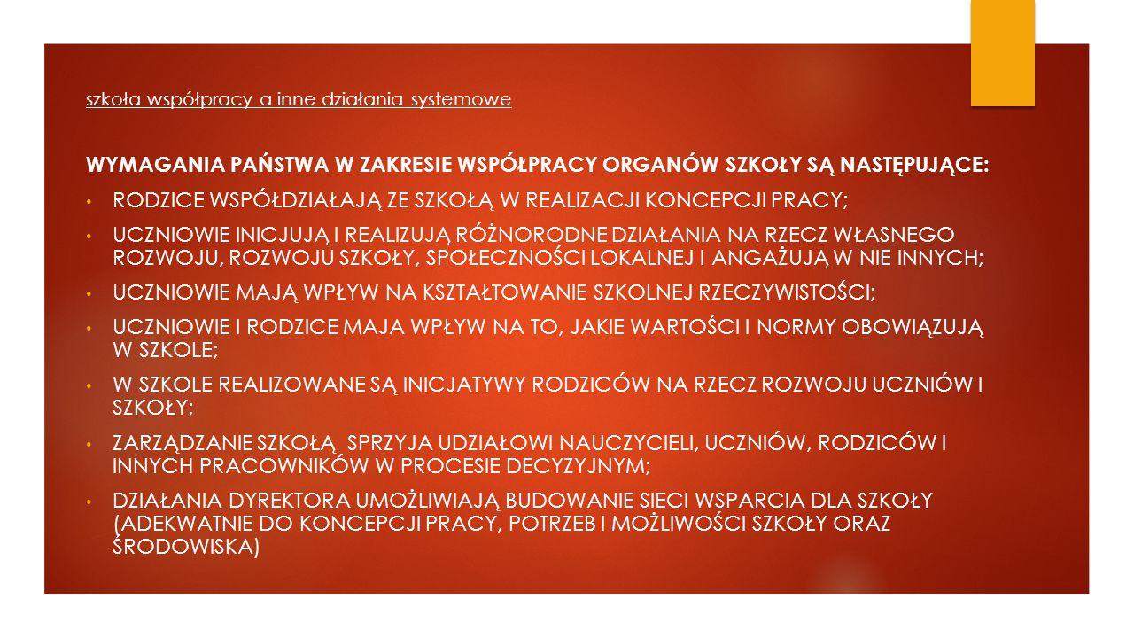 Wymagania Państwa w zakresie współpracy organów szkoły są następujące: