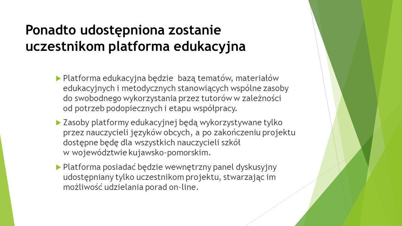 Ponadto udostępniona zostanie uczestnikom platforma edukacyjna