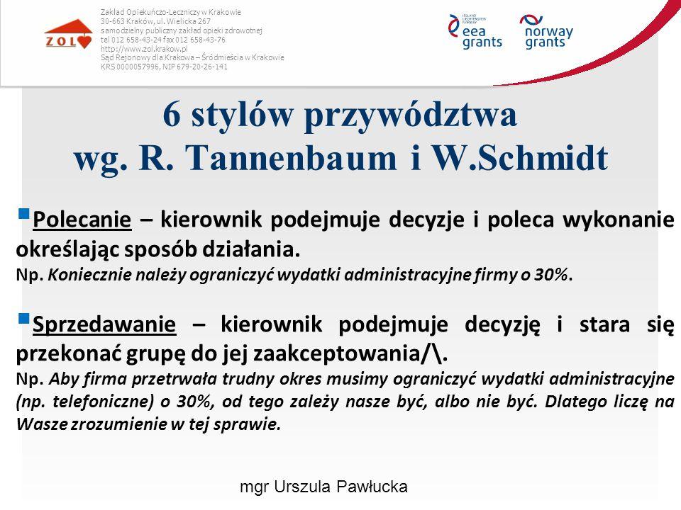 6 stylów przywództwa wg. R. Tannenbaum i W.Schmidt