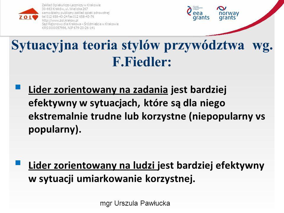 Sytuacyjna teoria stylów przywództwa wg. F.Fiedler: