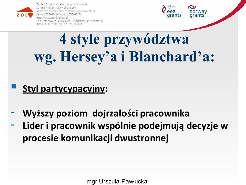 4 style przywództwa wg. Hersey'a i Blanchard'a: