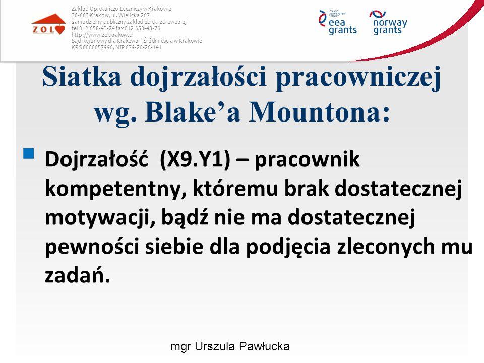 Siatka dojrzałości pracowniczej wg. Blake'a Mountona: