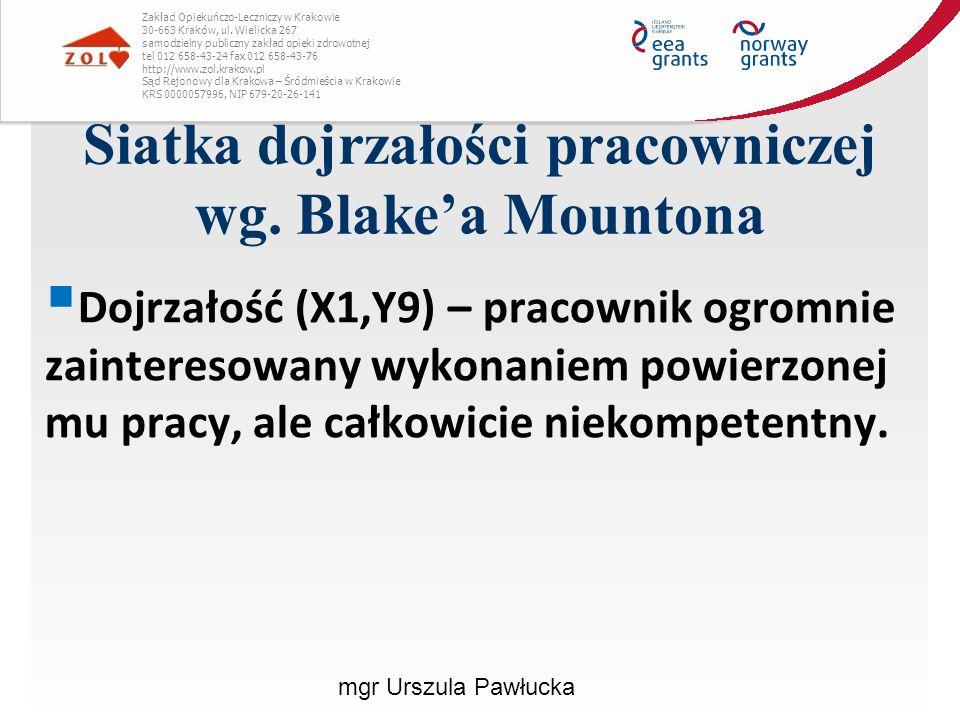Siatka dojrzałości pracowniczej wg. Blake'a Mountona
