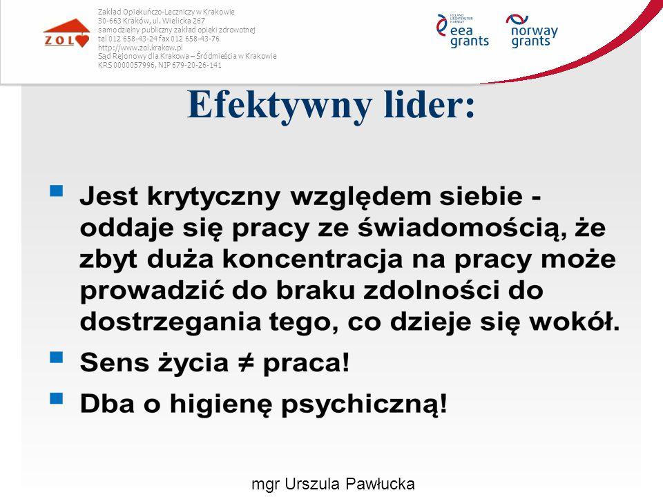 Efektywny lider: mgr Urszula Pawłucka