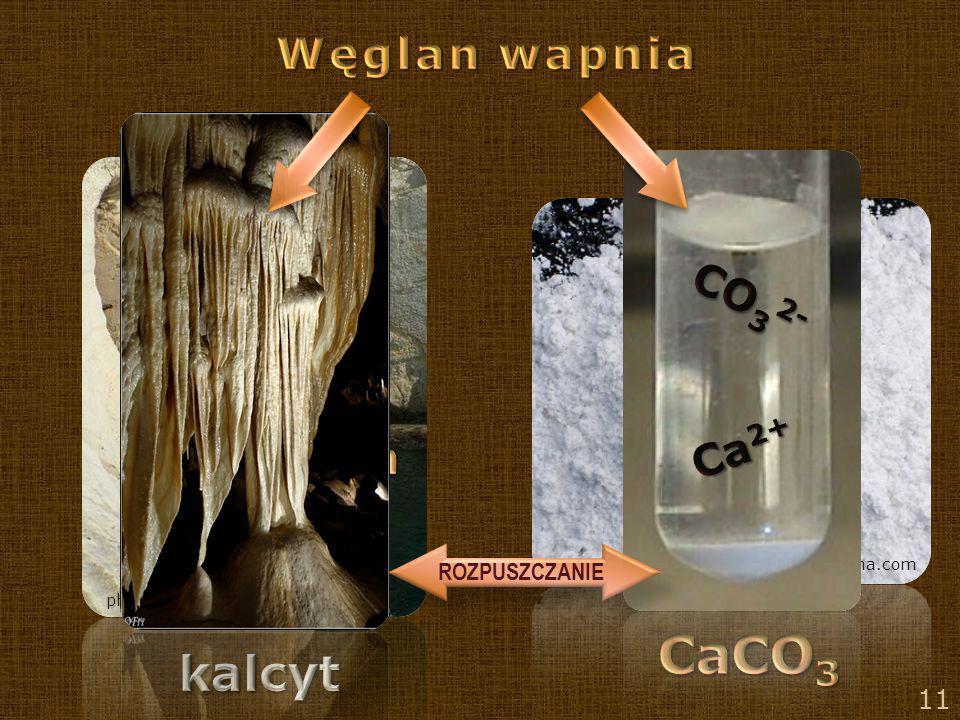 CaCO3 kalcyt Węglan wapnia CO32- Ca2+ wapień ROZPUSZCZANIE