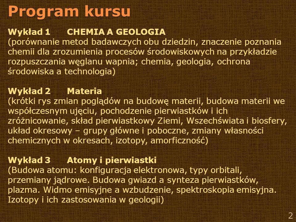 Program kursu Wykład 1 CHEMIA A GEOLOGIA