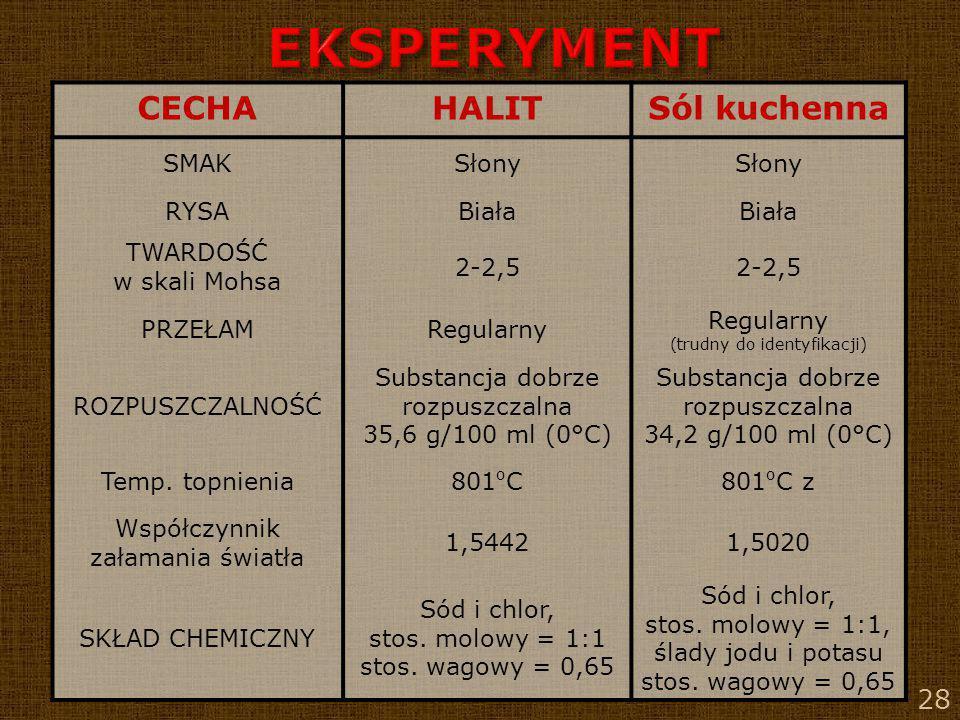 EKSPERYMENT CECHA HALIT Sól kuchenna SMAK Słony RYSA Biała TWARDOŚĆ