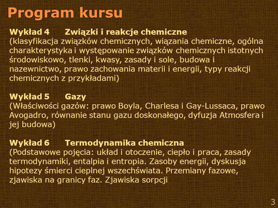 Program kursu Wykład 4 Związki i reakcje chemiczne