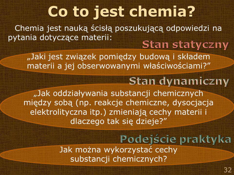 Co to jest chemia Stan statyczny Stan dynamiczny Podejście praktyka