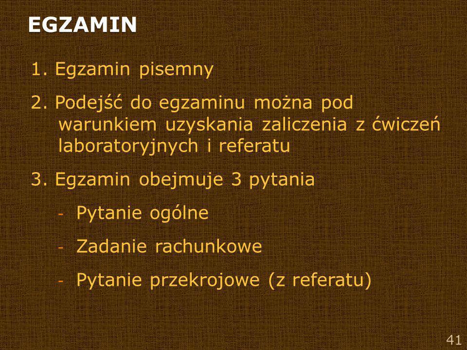 EGZAMIN 1. Egzamin pisemny