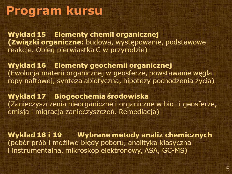 Program kursu Wykład 15 Elementy chemii organicznej