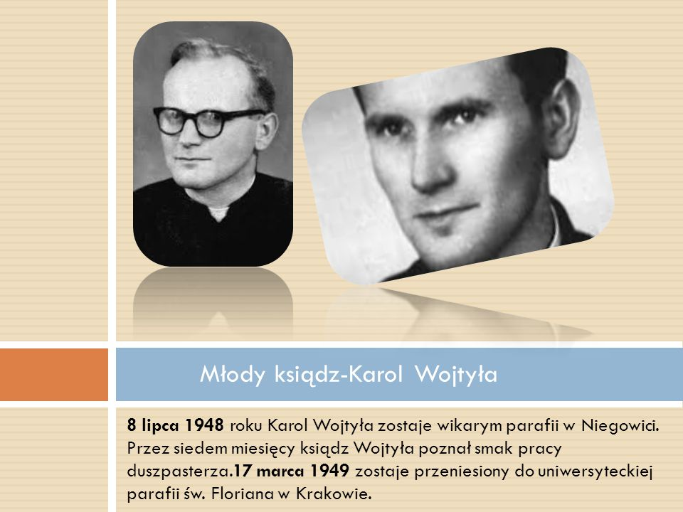 Młody ksiądz-Karol Wojtyła