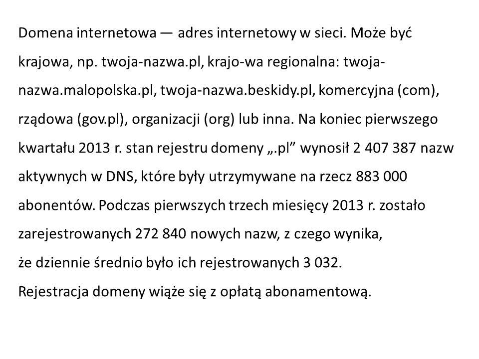 Domena internetowa — adres internetowy w sieci. Może być krajowa, np