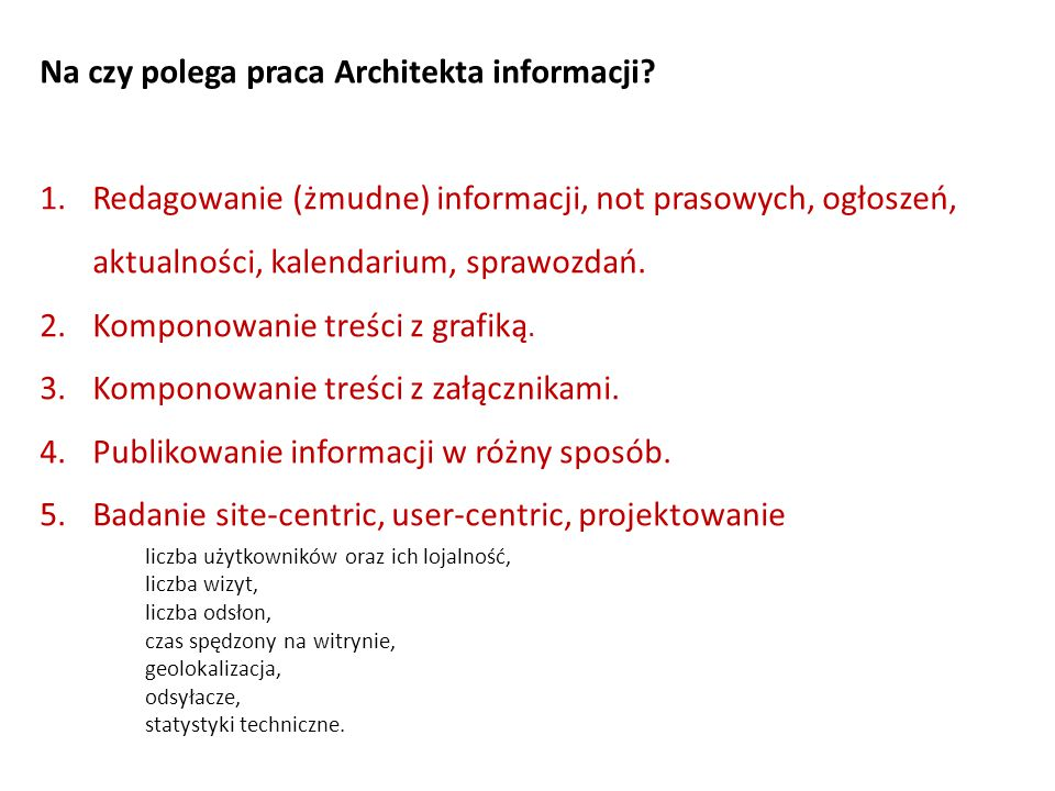 Na czy polega praca Architekta informacji