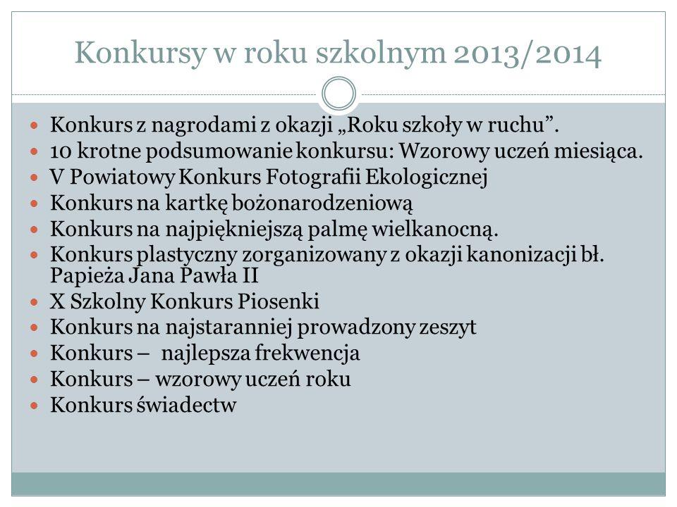 Konkursy w roku szkolnym 2013/2014