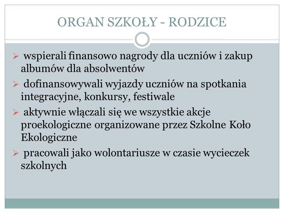 ORGAN SZKOŁY - RODZICE wspierali finansowo nagrody dla uczniów i zakup albumów dla absolwentów.