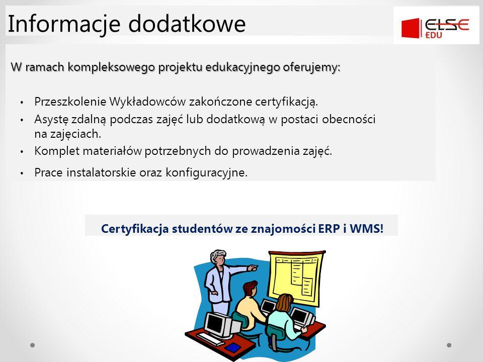 Certyfikacja studentów ze znajomości ERP i WMS!