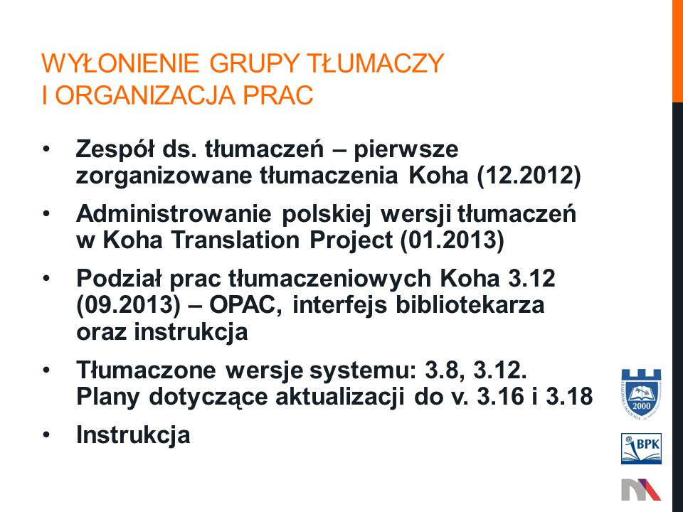 Wyłonienie grupy tłumaczy i organizacja prac