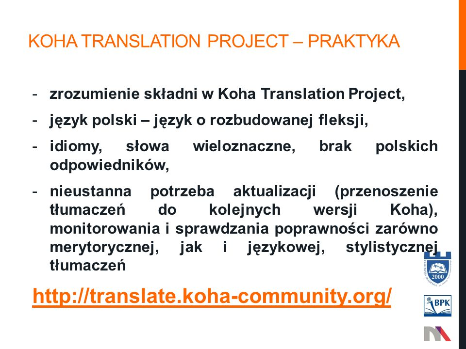 Koha translation project – Praktyka