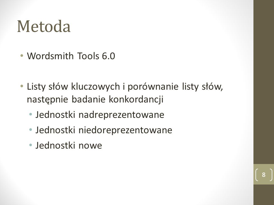 Metoda Wordsmith Tools 6.0