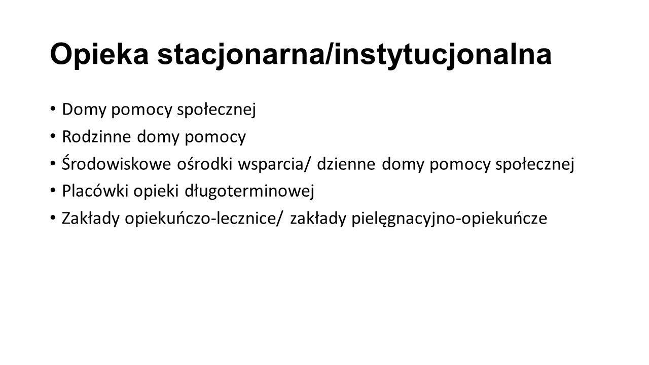 Opieka stacjonarna/instytucjonalna