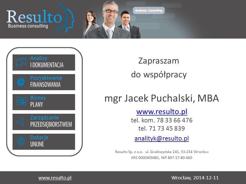 mgr Jacek Puchalski, MBA
