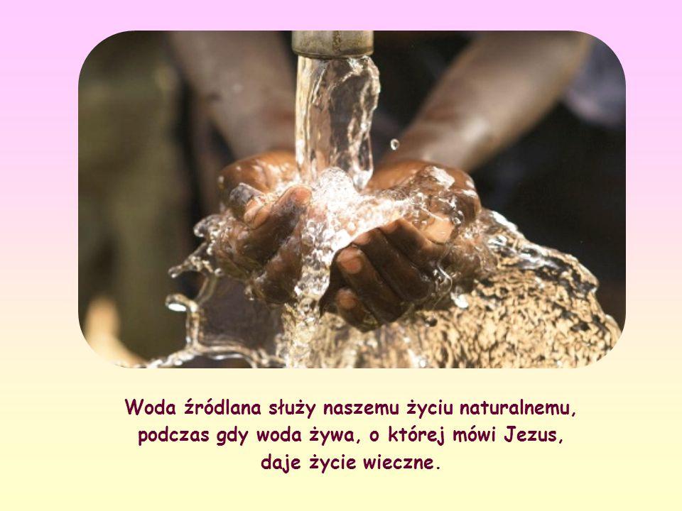 Woda źródlana służy naszemu życiu naturalnemu, podczas gdy woda żywa, o której mówi Jezus, daje życie wieczne.