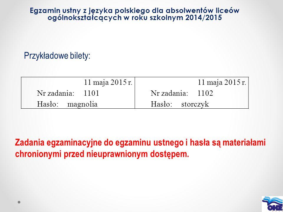 Egzamin ustny z języka polskiego dla absolwentów liceów ogólnokształcących w roku szkolnym 2014/2015