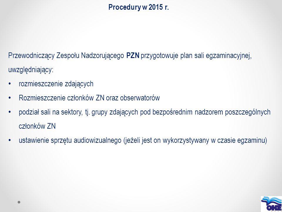 Procedury w 2015 r. Przewodniczący Zespołu Nadzorującego PZN przygotowuje plan sali egzaminacyjnej, uwzględniający:
