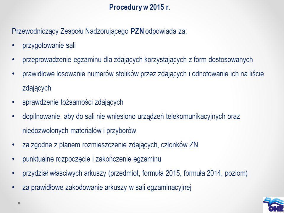 Procedury w 2015 r. Przewodniczący Zespołu Nadzorującego PZN odpowiada za: przygotowanie sali.