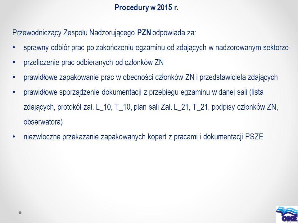 Procedury w 2015 r. Przewodniczący Zespołu Nadzorującego PZN odpowiada za: