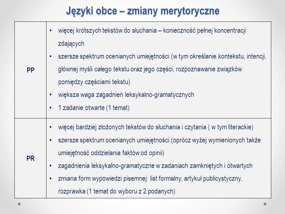 Języki obce – zmiany merytoryczne