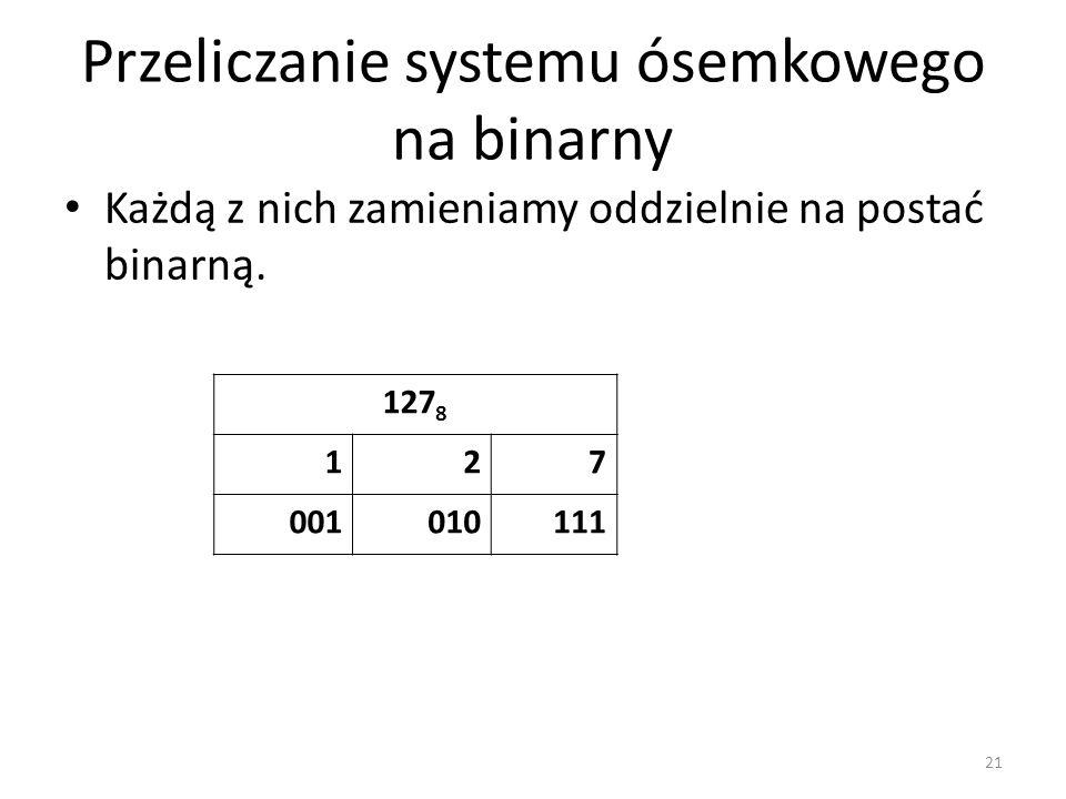 Przeliczanie systemu ósemkowego na binarny