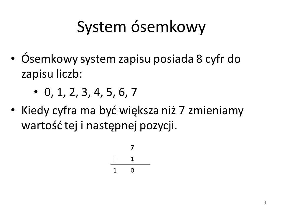 System ósemkowy Ósemkowy system zapisu posiada 8 cyfr do zapisu liczb: