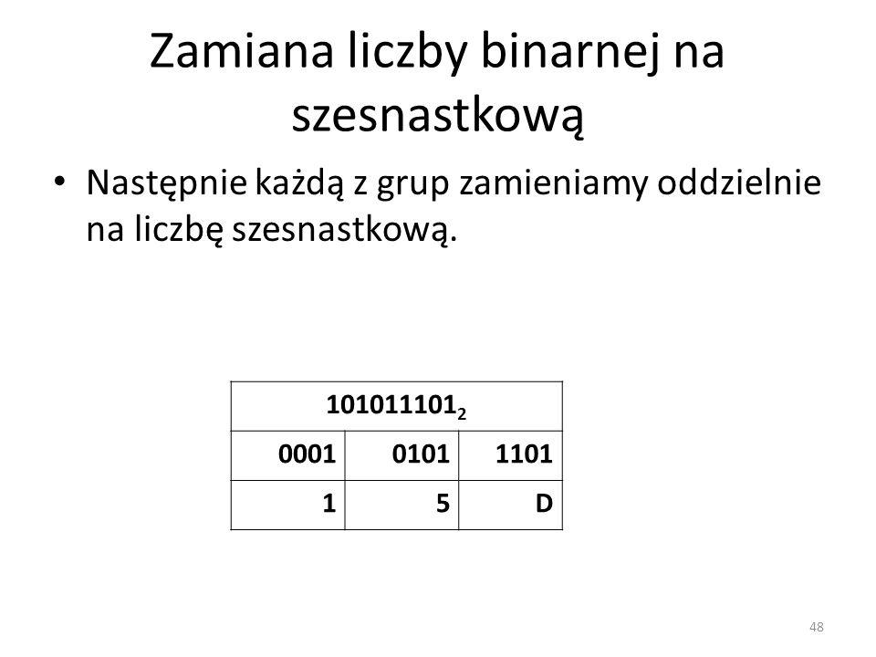 Zamiana liczby binarnej na szesnastkową