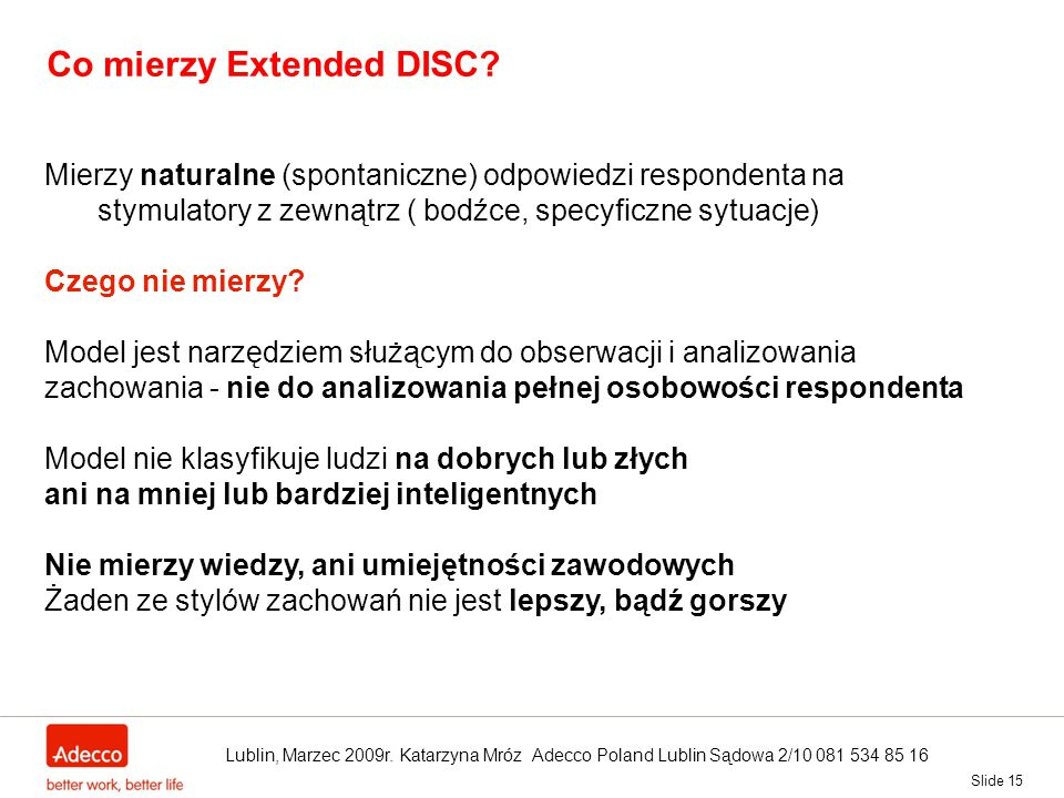 Co mierzy Extended DISC