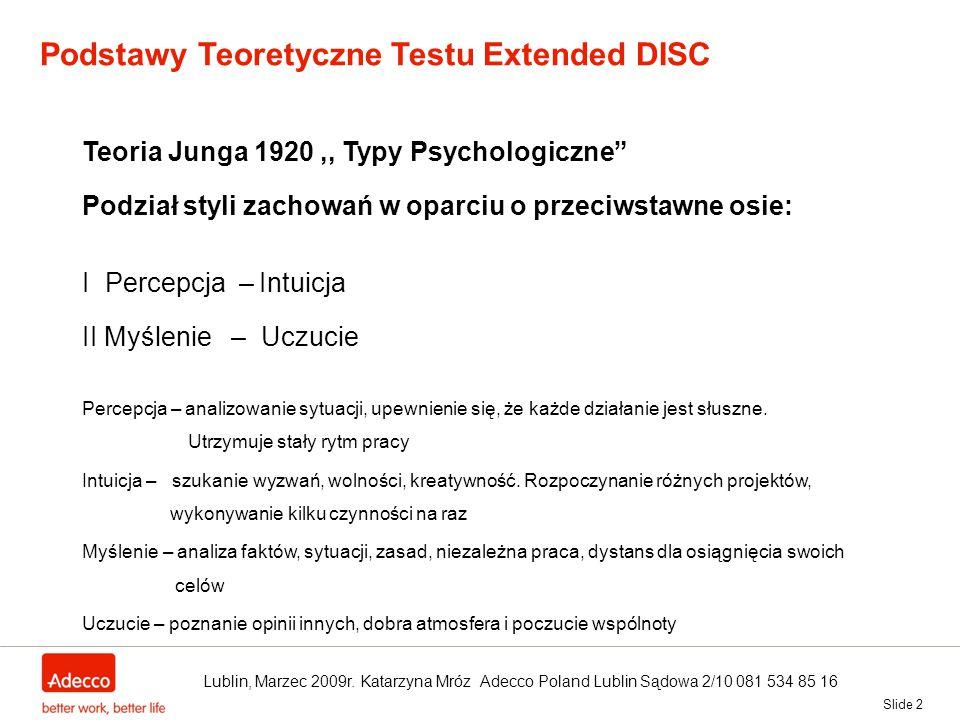 Podstawy Teoretyczne Testu Extended DISC