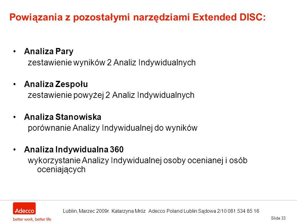 Powiązania z pozostałymi narzędziami Extended DISC: