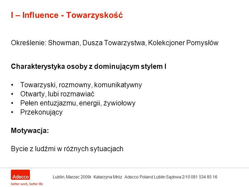 I – Influence - Towarzyskość